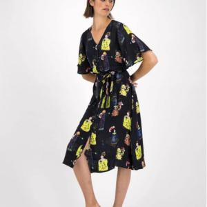 Kleid von POM Amsterdam - Lucky Charms - mit Winkekatzen und Glückspuppen