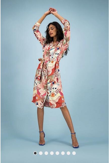 POM Amsterdam Kleid für Damen - Full of Luck Rasberry Print