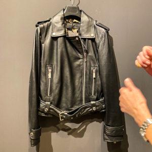 Okawood Lederjacke Damen in schwarz Biker Look