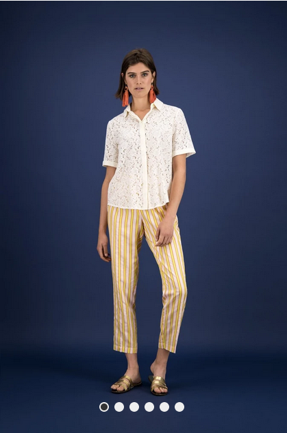 Damenhose von POM Amsterdam - Stripes Candy in gelb