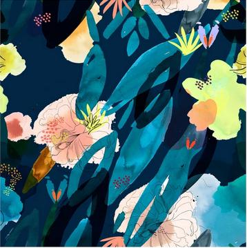 POM Amsterdam Bluse - Flower Play Blue