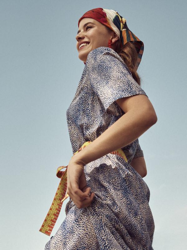 POM Amsterdam Bluse - Leopard Drops Blue