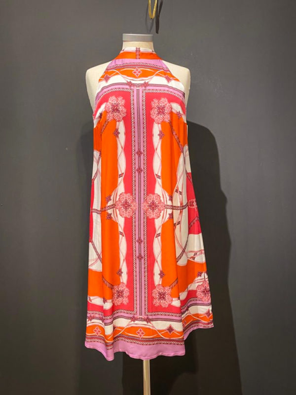 Ana Alcazar kurzes Sommer Kleid im Etno Boho Look in Orange Pink