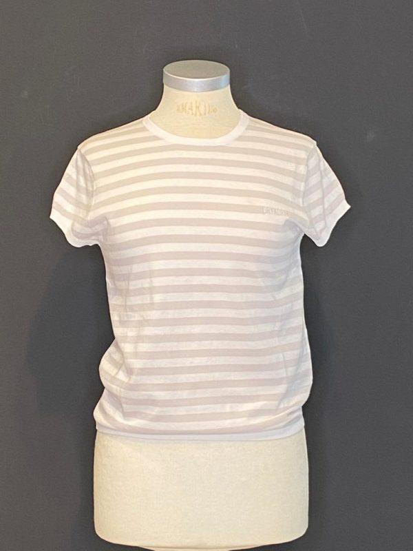 Drykorn 1/2 Arm Pullover Damen Weiß/Grey mit Streifen Muster