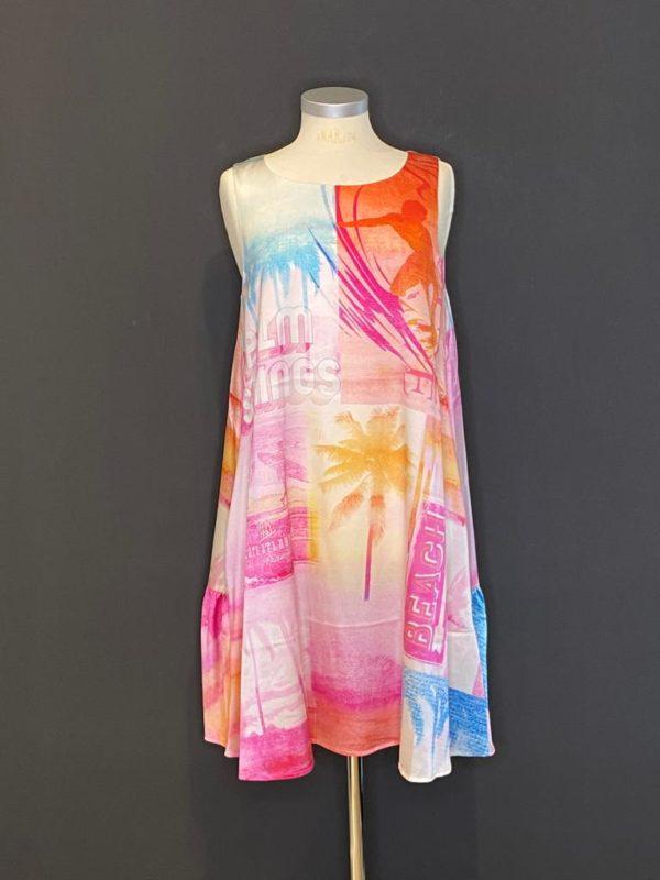 GRACE Sommerkleid ohne Arm Pink/Gelb