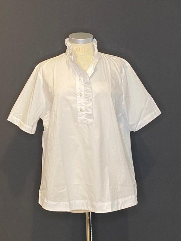 0039 Italy Bluse für Damen mit Rüsche und Stehkragen
